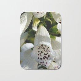White Bell 'Tattoo' Flowers by Aloha Kea Photography Bath Mat
