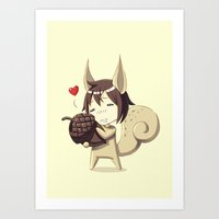 squirrel Art Prints featuring Squirrel by Freeminds