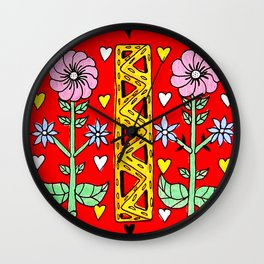 Folk needlework Wall Clock