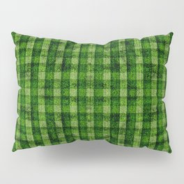 Forest Green and Lime Velvety Gingham Faux Suede Pillow Sham