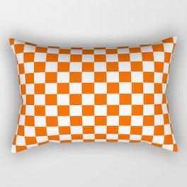 Small Checkered - White and Dark Orange Rectangular Pillow