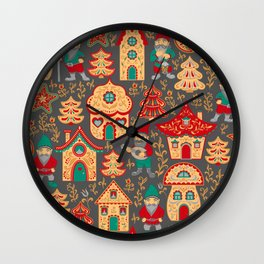 Fairy gnomes and magic houses.  Christmas trees, months and stars. Pattern in folk style. Wall Clock