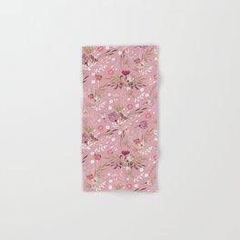 Vintage chic pink white red boho floral Hand & Bath Towel