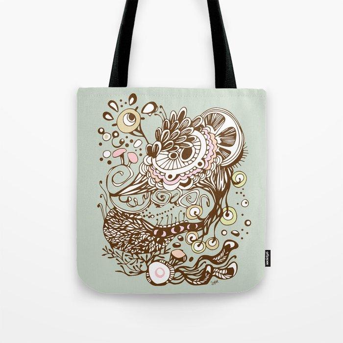 Zentangle green flower roots doodle Tote Bag