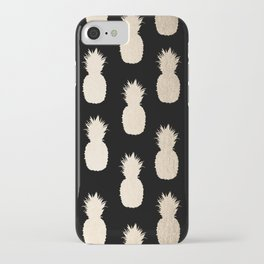 Gold Pineapples Pattern Black iPhone Case