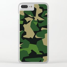 Camouflage Splinter Pattern Green Barret Clear iPhone Case