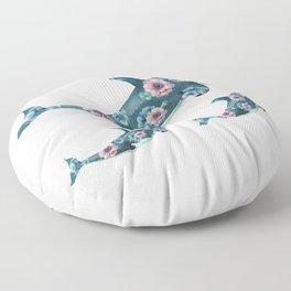 Rose Garden Whales Floor Pillow