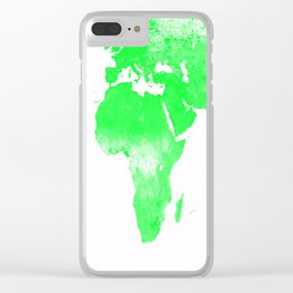 woRld Map Bright Green & White Clear iPhone Case
