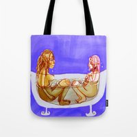 bath Tote Bags featuring Bath by Mottinthepot
