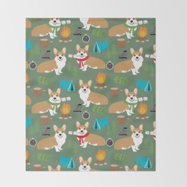 Corgi camping cute welsh corgis campfire outdoors scouts corgis must haves Throw Blanket