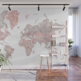 """Highly detailed world map in dusty pink and grey watercolor, """"Piper"""" Wall Mural"""