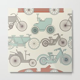 Seamless pattern with vintage cars and bikes Metal Print