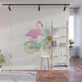 Tropical Flamingo Bike Wall Mural