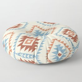 Aztec Style Motif Pattern Blue Cream Terracottas Floor Pillow