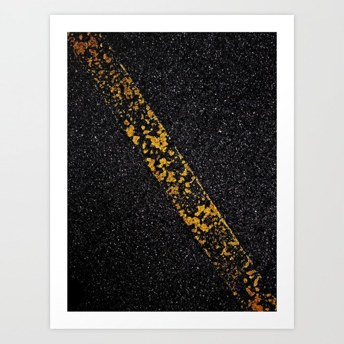 Old Yellow painted line on asphalt road Art Print