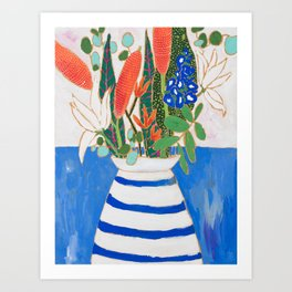 Nautical Striped Vase of Flowers Art Print
