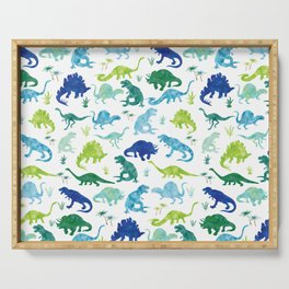 Watercolor Dinosaur Pattern White Green Blue Serving Tray
