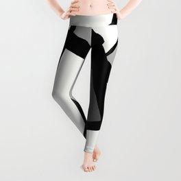 Geometric Line Abstract - Black Gray White Leggings