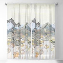 Daisy Mountain - Art Collage Sheer Curtain