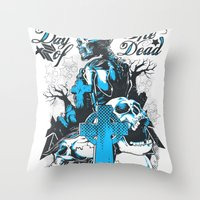 tomb raider Throw Pillows featuring Tomb by Tshirt-Factory