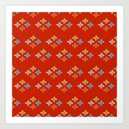 Las Flores - Red 02 (Patterns Please) Art Print