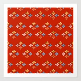 Las Flores - Red 02 (Patterns Please) Art Print