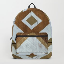 White Chevron Painting on Reclaimed Wood Backpack