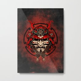 Samurai Warrior Mask Metal Print