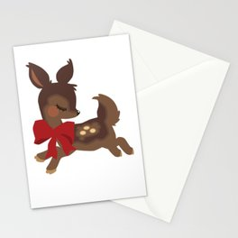 Ribboned Fawn Stationery Cards