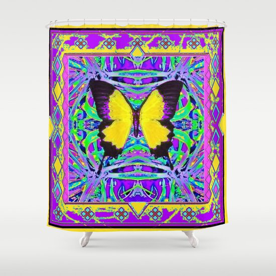 Yellow Butterfly Purple Western StyleAbstract Shower