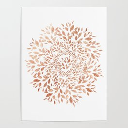 Rose Gold Leaves Mandala Poster