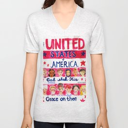 United States of America: God Shed His Grace on Thee Unisex V-Neck
