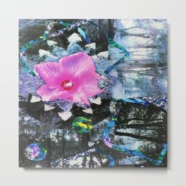 Pink Hibiscus Black and White Landscape Collage Metal Print