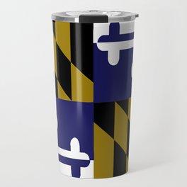 Maryland State Flag Baltimore Football Season Colors Purple Gold Travel Mug