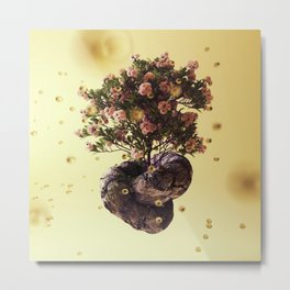 Creamy Knot Bonsai Metal Print