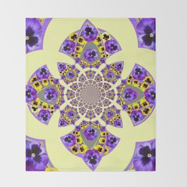 GEOMETRIC  PURPLE & YELLOW  PANSIES ON  CREAM COLOR Throw Blanket