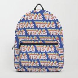 Texas, USA Trendy Rainbow Text Pattern (Blue) Backpack