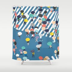 Crossing The Street On a Rainy Day - Blue Shower Curtain