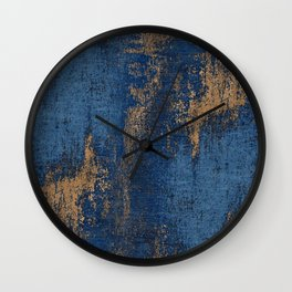 NAVY BLUE AND GOLD PATTERN Wall Clock