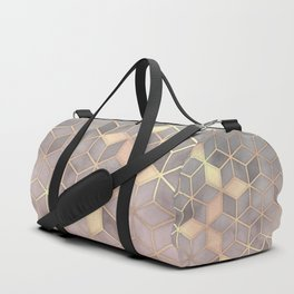 Gold blush grey Gradient cube Duffle Bag