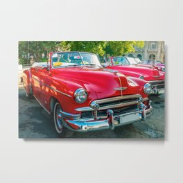 Beautiful red vintage taxis in Havana, Cuba. Metal Print