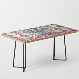N245 - Vintage Oriental Bohemian Colored Traditional Moroccan Fabric Style Coffee Table