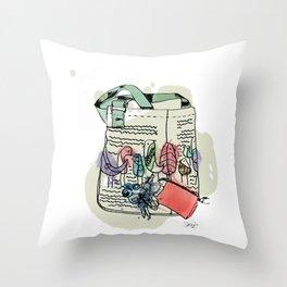 Squiggle Bird Bag Throw Pillow