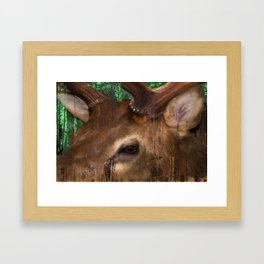 Elk grunge in the trees Framed Art Print