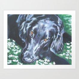 Flat Coated Retriever Dog Portrait Art from an original painting by L.A.Shepard Art Print