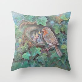 Bird family Robin on the nest Wildlife birds pastel drawing Nature painting Green background Throw Pillow