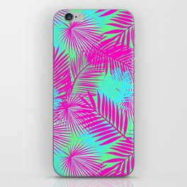 Neon Pink & Blue Tropical Print iPhone Skin