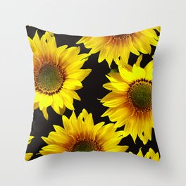 Large Sunflowers on a black background #decor #society6 #buyart Throw Pillow