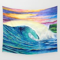 indonesia Wall Tapestries featuring  Surf Art  Indonesia by Surf Art Gabriel Picillo