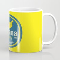 sticker Mugs featuring Banana Sticker On Yellow by Karolis Butenas
